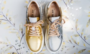 Gen Nee sneakers mismatched gold and silver glitter leather studded
